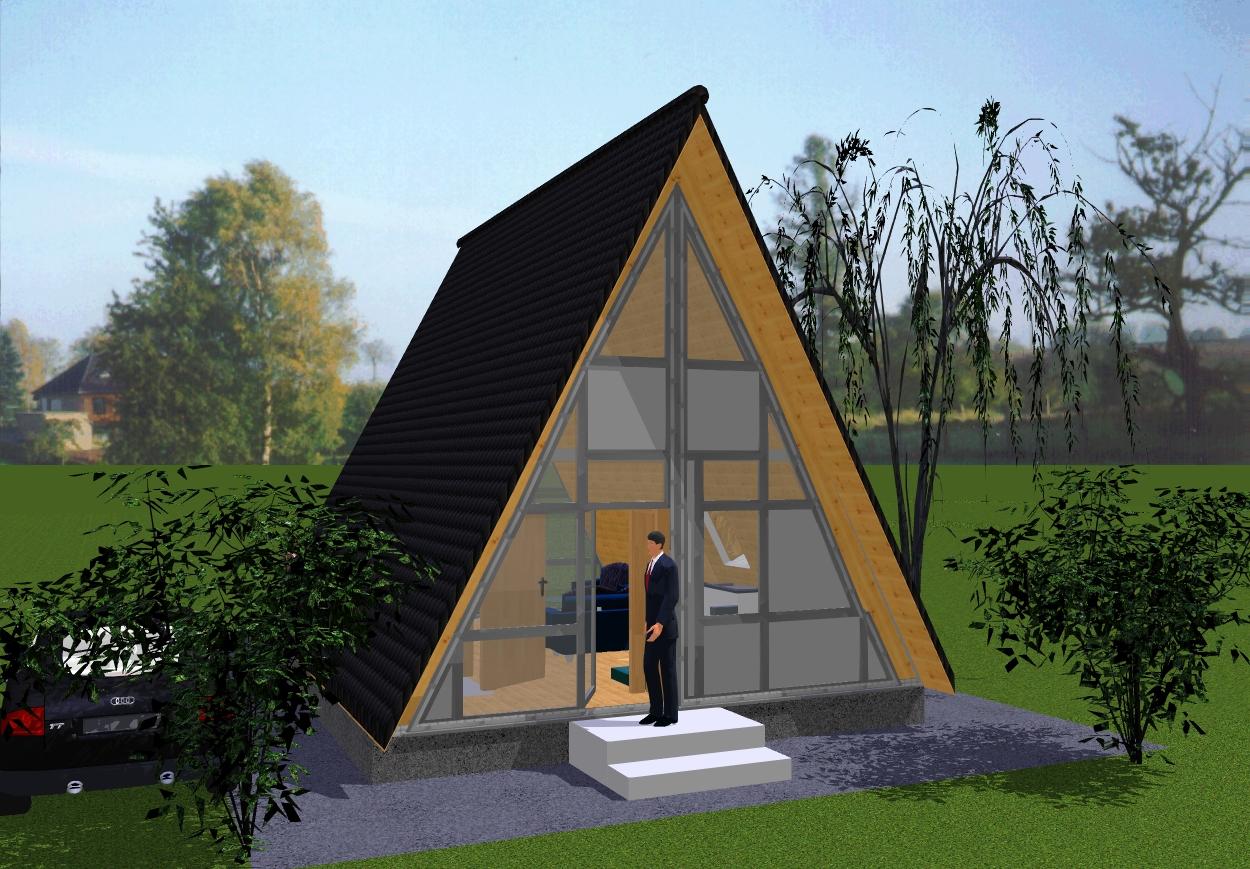 Finnhütte Rohbausatz, Solardachhaus, Nurdachhaus - Komfort